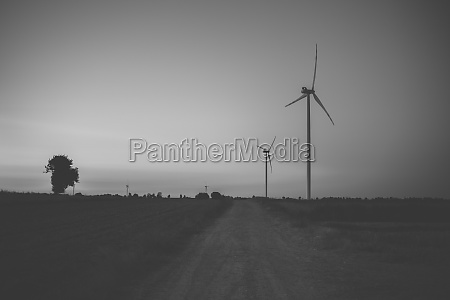wind turbines producing electricity
