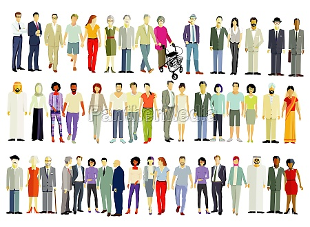 large group of different people isolated