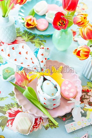 colorful table setting for easter
