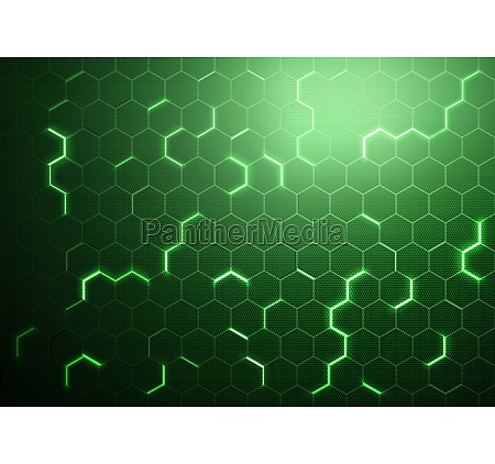 abstract green futuristic hexagonal background