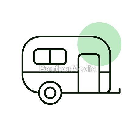 caravan trailer vector icon camping sign