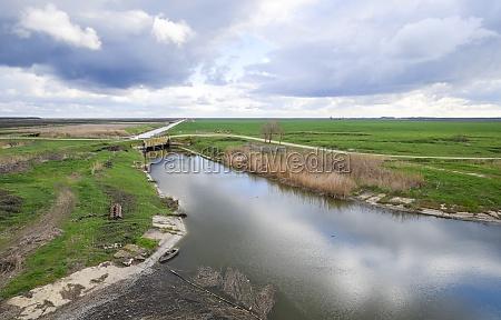bridges through irrigation canals rice field