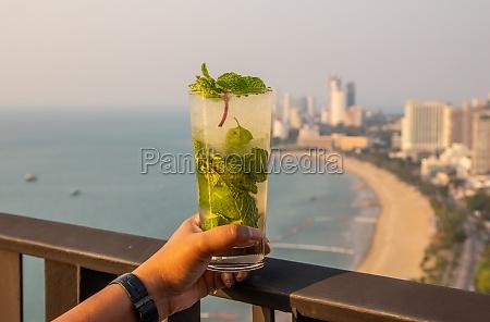 green mojito cocktail in thailand asia