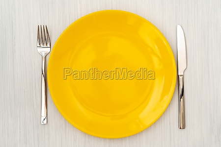 plate with fork and knife view