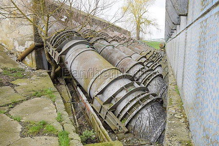 outlet pipes of a water pumping