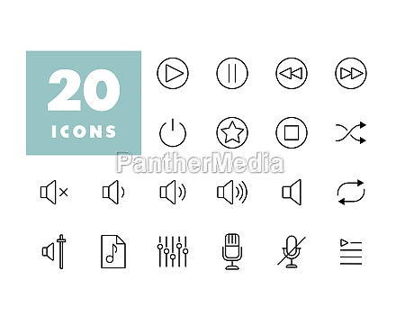 multimedia user interface flat vector icons
