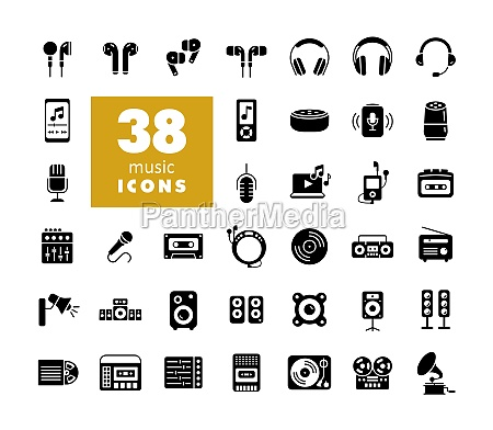 multimedia devices and symbols glyph icons