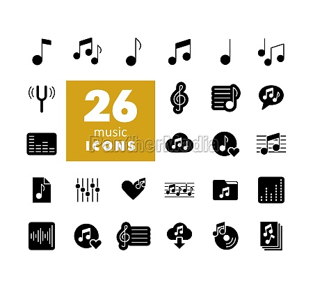 music notes flat vector glyph icons