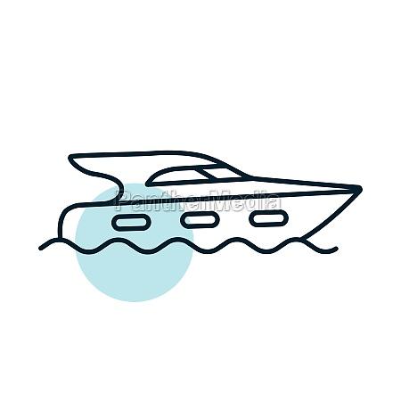 cruising motor yacht flat vector icon