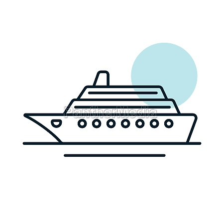 cruise liner flat vector icon