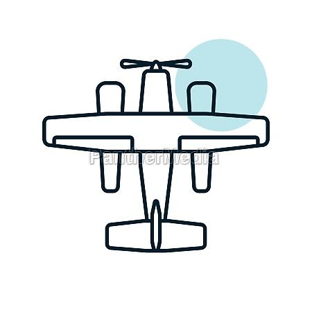 small amphibian seaplane plane flat vector