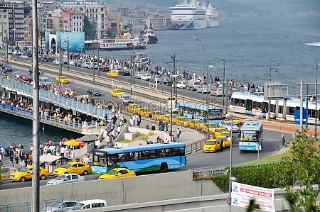 rush hour at galatabridge istanbul