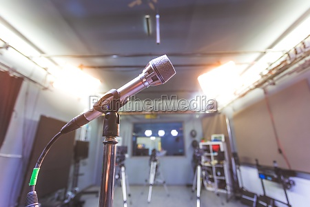 microphone in recording studio equipment and