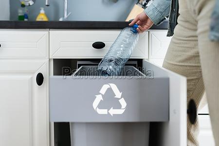 bottle recycle bin in kitchen