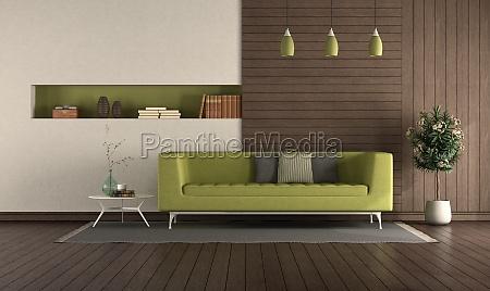 green sofa in a modern living