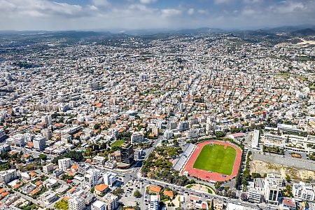 limassol cityscape with lanitio stadium on