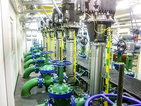 equipment inside the pumping station for