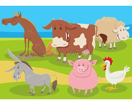 cartoon farm animals group in the