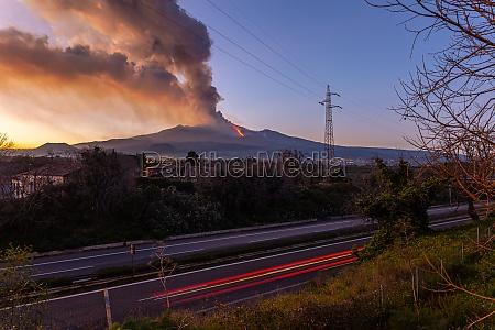 etna volcano during the eruption
