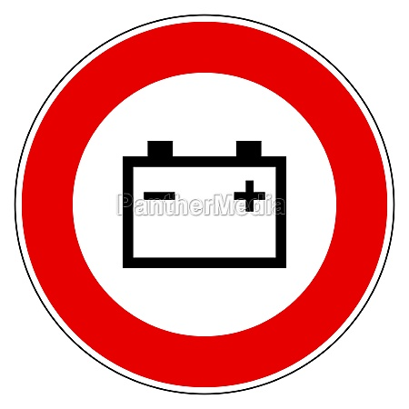 car battery and prohibition sign