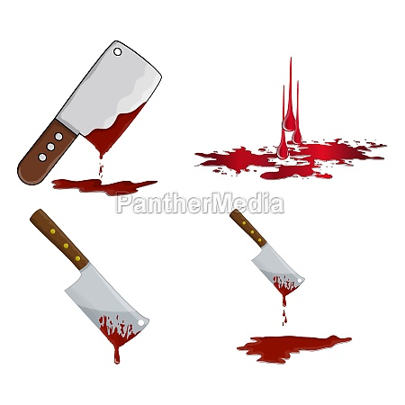 cleaver with blood icon set bloody