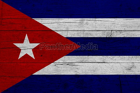 flag of cuba wooden texture of