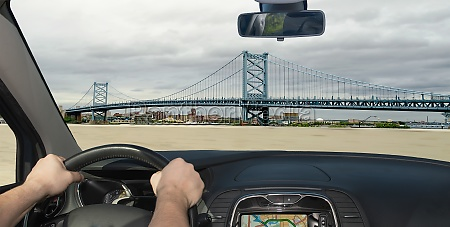 driving a car towards benjamin franklin
