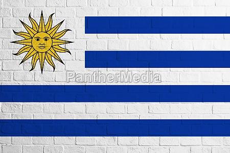 flag of uruguay brick wall texture