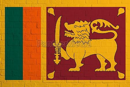flag of sri lanka brick wall