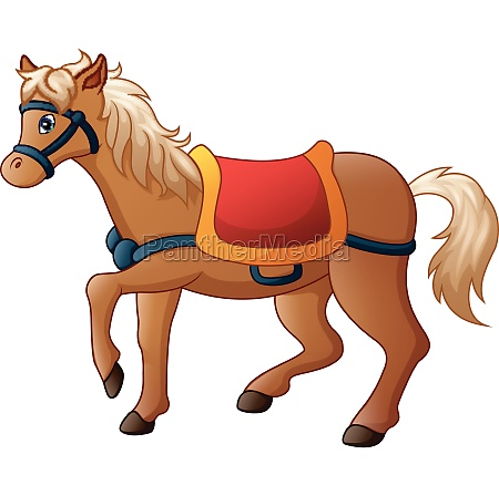 vector illustration of cartoon horse with