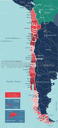 chile country detailed editable map