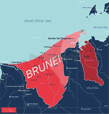 brunei country detailed editable map