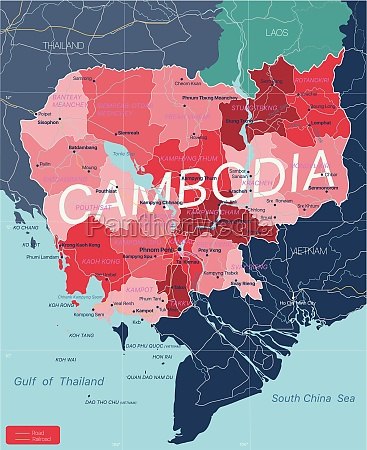 cambodia country detailed editable map