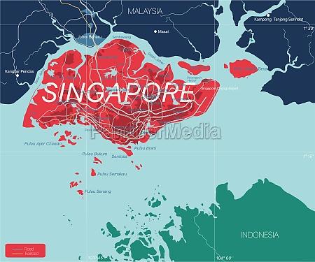 singapore detailed editable map