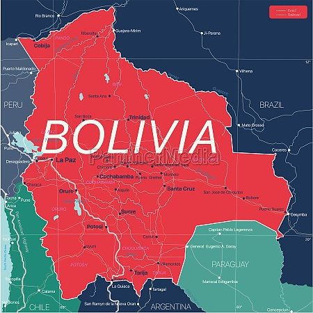bolivia country detailed editable map