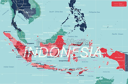 indonesia country detailed editable map