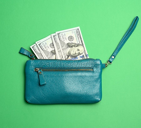 open wallet with paper hundred dollar