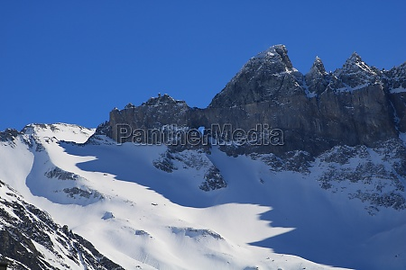 famous geological feature martinsloch in winter