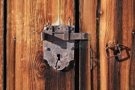 handmade old lock on a weathered