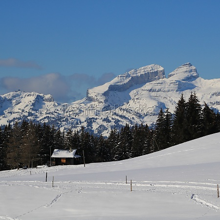 snow covered mountains in vaud canton