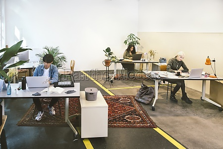 people working in co working space