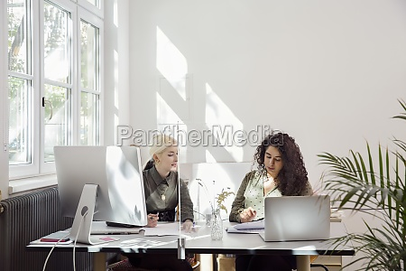 women working together in office with
