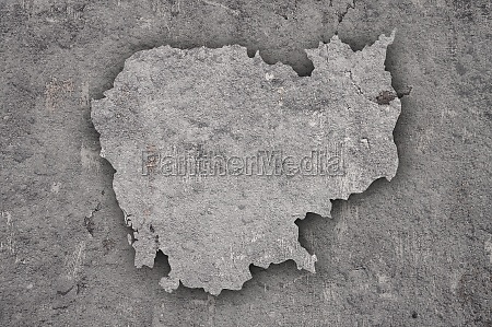map of cambodia on weathered concrete
