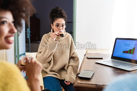 women having coffee working from home