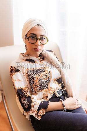 portrait of stylish woman wearing hijab