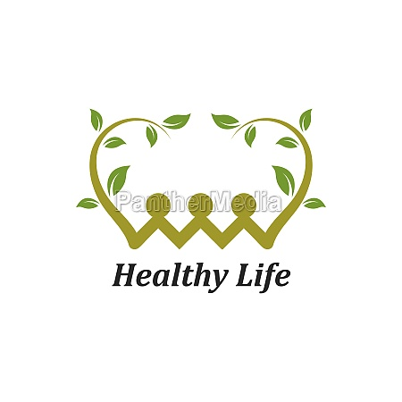 healthy life people logo template