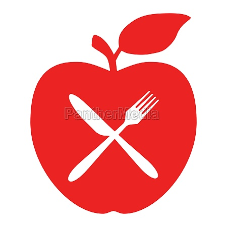 cutlery and apple