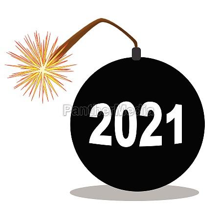 cartoon 2021 new years bomb