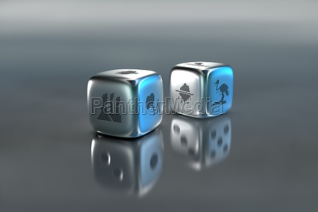 pair of dice with environmental damage