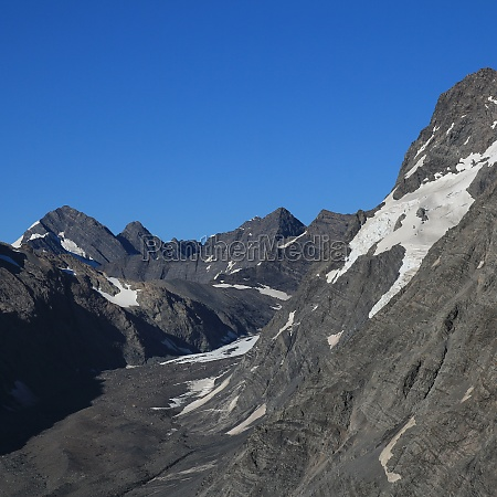 mueller glacier and rugged mountains